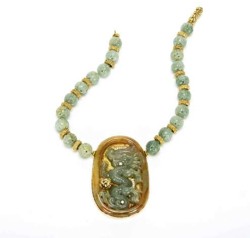 Katy Briscoe's  necklace features a jade dragon, $30,000. Photo: Katy Briscoe
