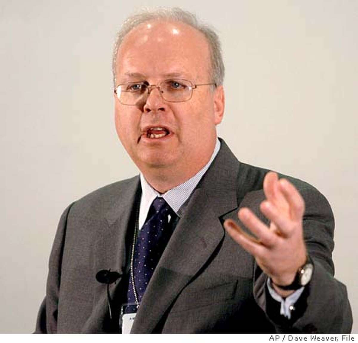 White House Chief of Staff Karl Rove addresses employees Friday July 8, 2005, at Ameritrade's Bellevue, Neb, office. Rove is in Nebraska for a fundraiser in Omaha. (AP Photo/Dave Weaver) Ran on: 07-17-2005