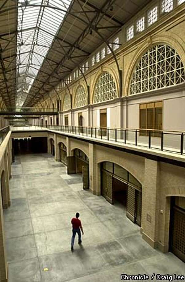 The newly remodeled Ferry Building featuring a food court where big names in the Northern California artisan food world, such as Acme Bakery, Cowgirl Creamery and Frog Hollow Farms. They will be where the gated areas are below. The farmer's market will be just outside the main food court and on the back plaza.  Photo by Craig Lee/San Francisco Chronicle Photo: CRAIG LEE
