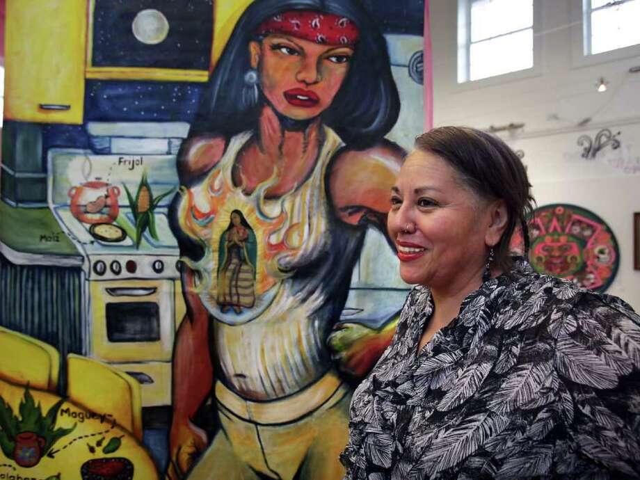 "Debora Kuetzpal Vasquez shows ""Citlali,"" part of  ""Sobreviviente/Survivor"" at Bihl Haus Arts. Photo: San Antonio Express-News, Bob Owen / rowen@express-news.net"