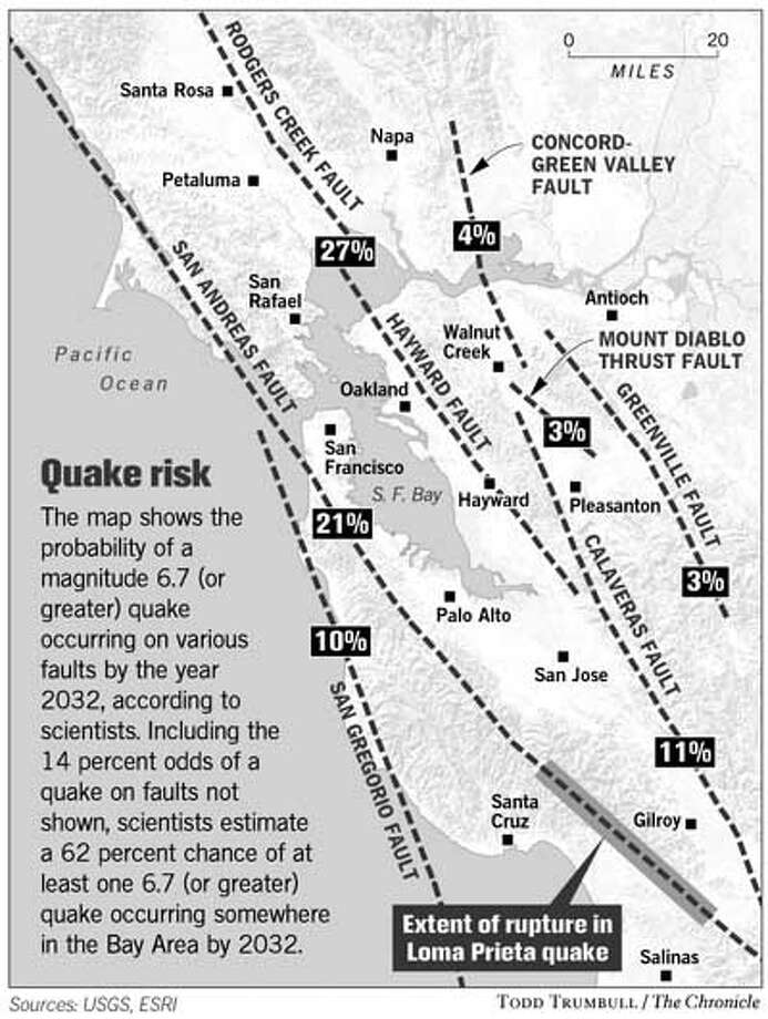 Quake Risk. Chronicle graphic by Todd Trumbull