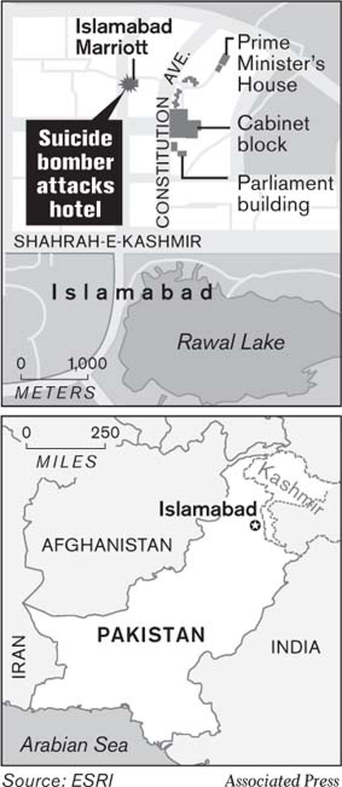 Suicide Bomber Attacks Hotel. Associated Press Graphic