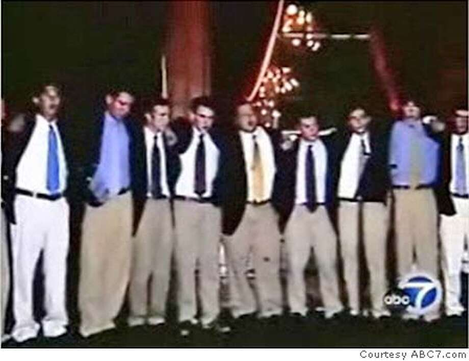 The Yale glee club is shown performing in a video on the ABC7NEWS.com website. Mandatory Credit: Courtesy ABC7NEWS.com  Ran on: 01-10-2007  Members of Yale's a cappella group were attacked outside a Richmond District home on New Year's Eve, witnesses say.  Ran on: 01-10-2007  Members of Yale's a cappella group were attacked outside a Richmond District home on New Year's Eve, witnesses say.  Ran on: 01-26-2007  Members of the Baker's Dozen were invited to a New Year's Eve party in the Richmond District by a fellow Yale student. Photo: Courtesy ABC7.com