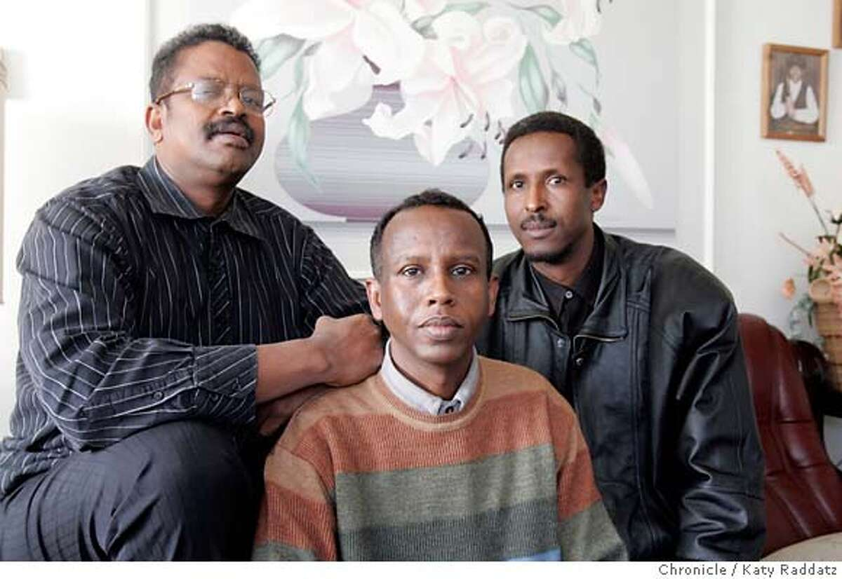 CURIEL28_008_RAD.jpg SHOWN: L to R: Cabdi Daahir, Founder/President of Dolphin Association Development Jobs and Self Help; Ahmed Dirie, Founder of Development Narrator Magazine; Shuaib Dualeh, former chairman of Bay Area Somali Community. Story is about the situation in Somalia: US supported troops overthrew a Muslim government accused by Washington DC of having links to Al Qaeda. Jonathan Curiel interviews these three men. These photos were made on Tuesday, Jan. 23, 2007, in San Jose, CA. (Katy Raddatz/SF CHRONICLE) **Cabdi Daahir, Ahmed Dirie, Shuaib Dualeh Mandatory credit for the photographer and the San Francisco Chronicle. ; mags out.