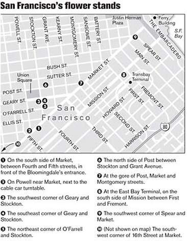 San Francisco's Flower Stands. Chronicle Graphic