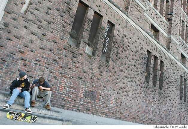 SEX_0004_KW_.jpg  Skatboarders (L to R) Nick Midwig and Spencer Brown sit outside the Old National Guard Armory which has been purchased by the sex bondage website kink.com for a new location ffor their film production and website company on Thursday January 11, 2007. This new location cost 14 million dollars and has 200,000 square feet that will be transformed into sets, offices and work space.purchased by the sex bondage website kink.com for a new location ffor their film production and website company on Thursday January 11, 2007. This new location cost 14 million dollars and has 200,000 square feet that will be transformed into sets, offices and work space.  Kat Wade/The Chronicle  Ran on: 01-13-2007  Porn director James Mogul takes a look into the boiler at the old armory, where he contemplates what he says are endless artistic possibilities.  Ran on: 01-13-2007  Porn director James Mogul takes a look into the boiler at the old armory, where he contemplates what he says are endless artistic possibilities. Mandatory Credit for San Francisco Chronicle and photographer, Kat Wade, Mags out Photo: Kat Wade