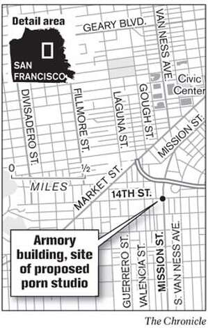 Armory building, site of proposed porn studio. Chronicle Graphic