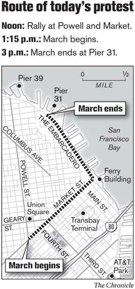 Route of Today's Protest. Chronicle Graphic