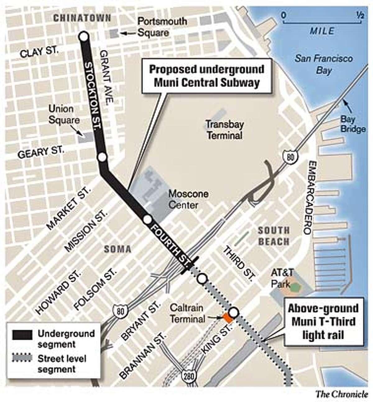 Proposed Underground Muni Central Subway. Chronicle Graphic