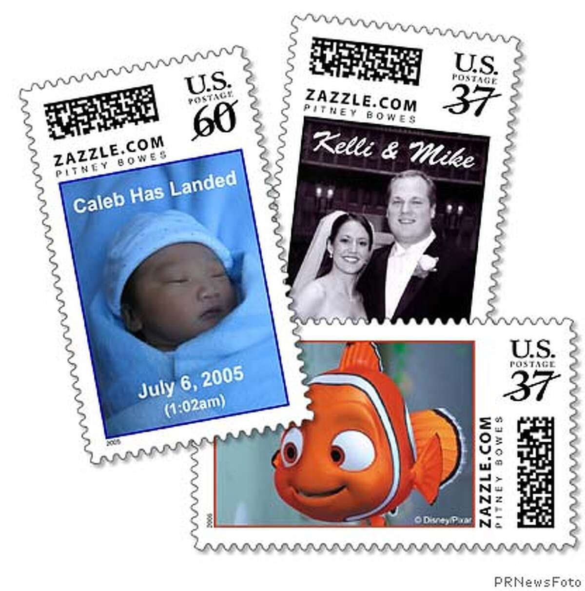 Licensed or personal images can now be turned into customized stamps at www.zazzle.com. (PRNewsFoto) *XPRN XPFF* SEE STORY 20050718/NYM076, NY (157934) Media contact: Matthew Broder Pitney Bowes Inc. +1-203-351-6347, matthew.broder@pb.com