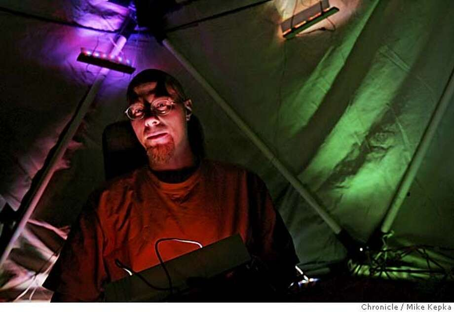 "borg18007_mk.JPG Simran Gleason received about $1000 from the BORG2 for the sound and light art sculpture he calls ""Haunted Garden."" 7/14/05 Mike Kepka / The Chronicle MANDATORY CREDIT FOR PHOTOG AND SF CHRONICLE/ -MAGS OUT Photo: Mike Kepka"
