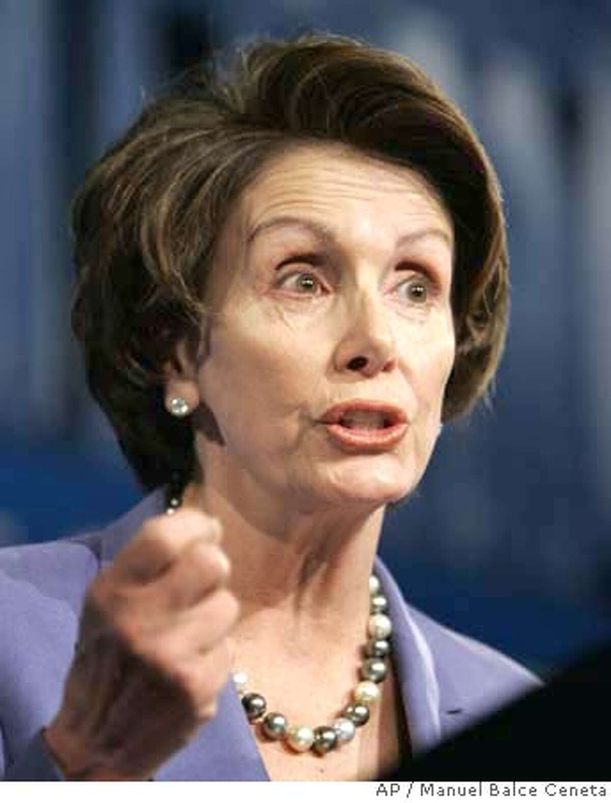 House Speaker Nancy Pelosi of Calif, delivers remarks during the 75th Winter Meeting of the U.S. Conference of Mayors, Wednesday, Jan 24, 2007, in Washington. (AP Photo/Manuel Balce Ceneta)