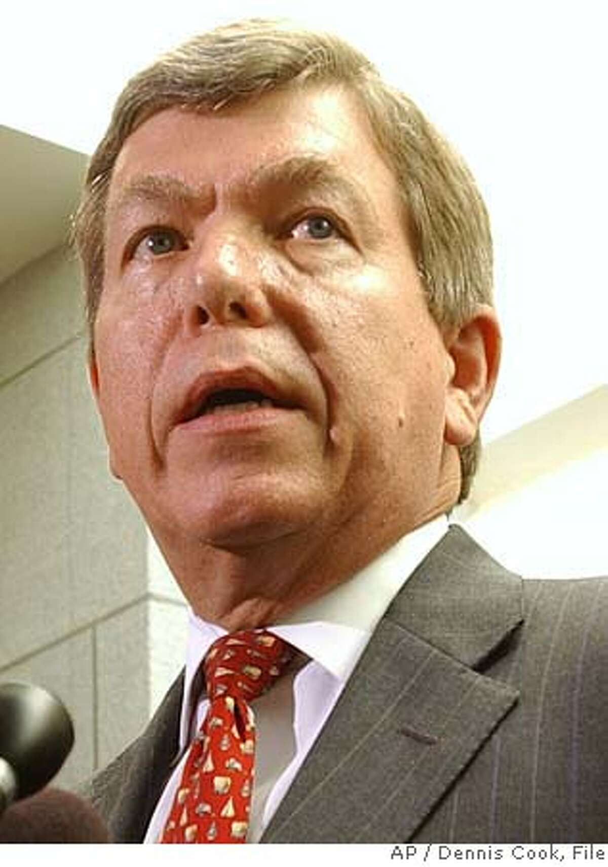 Representative Roy Blunt, R-Mo., left, talks to reporters on Capitol Hill Wednesday, Sept. 28, 2005, after being named to succeed Rep. Tom Delay, R-Tex., as House Majority Leader. DeLay has been indicted by a Texas grand jury on conspiracy charges. (AP Photo/Dennis Cook) Ran on: 09-29-2005 David Dreier, edged out Ran on: 09-29-2005 David Dreier, edged out Ran on: 09-29-2005 David Dreier, edged out Ran on: 10-06-2005 Tom DeLay Ran on: 11-11-2005 House Majority Leader Roy Blunt pledged to bring the bill before the House next week.