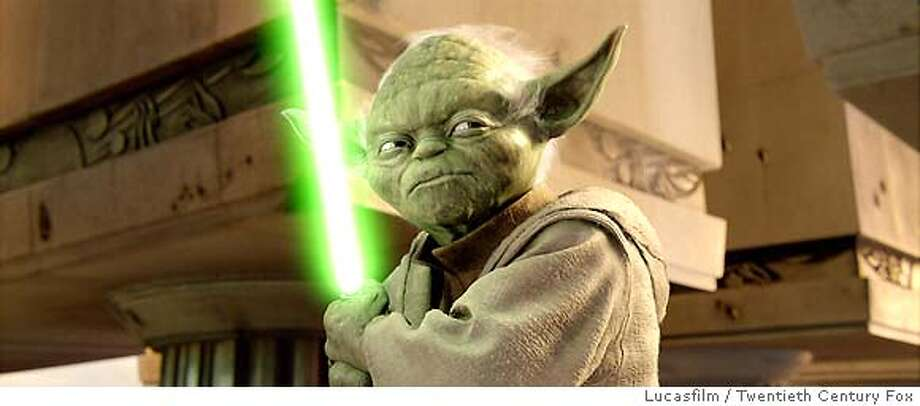 "�In this photo provided by Lucasfilm/Twentieth Century Fox, Jedi Master Yoda defends the jedi in Star Wars: Episode III Revenge of the Sith."" (AP Photo/ Lucasfilm/Twentieth Century Fox) Ran on: 05-15-2005 Ran on: 04-04-2006 How hot would Yoda's light saber have to be to cut through steel as if it were thin air and yet keep him safe? Photo: Lucasfilm/Twentieth Century Fox"