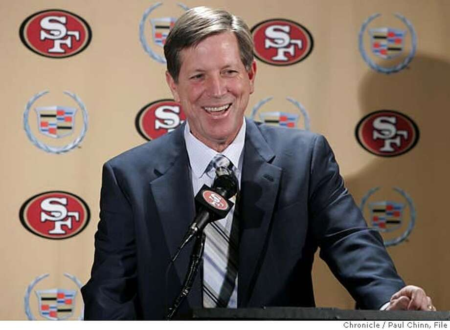 49ers18_050_pc.jpg  Norv Turner smiles at a news conference after the San Francisco 49ers hired him as offensive coordinator at the team's headquarters in Santa Clara, Calif. on 1/17/06. Turner was recently fired as head coach of the Oakland Raiders.  PAUL CHINN/The Chronicle MANDATORY CREDIT FOR PHOTOG AND S.F. CHRONICLE/ - MAGS OUT Photo: PAUL CHINN