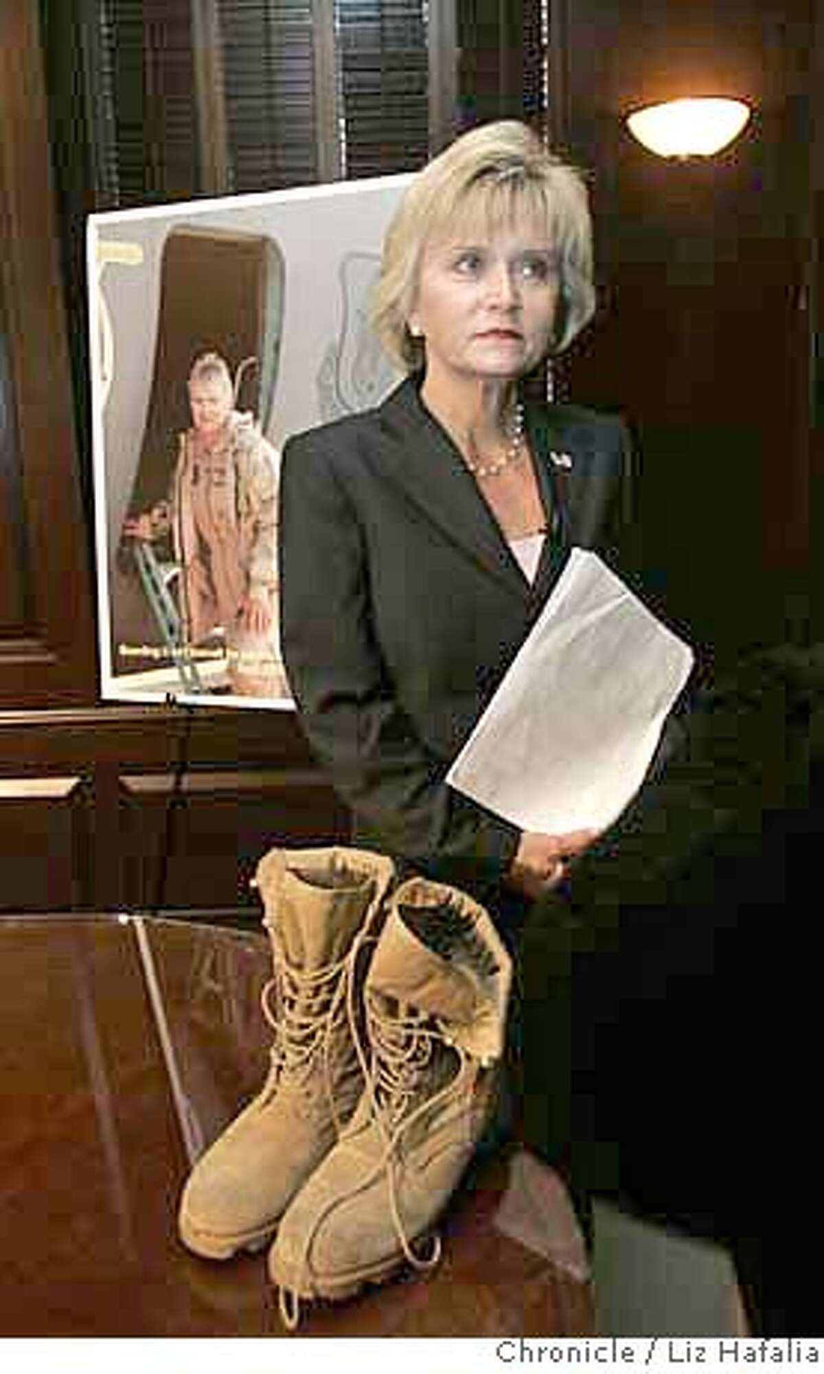 RESERVIST24_105_LH.JPG An Air Force reserve officer, Lieutenant Colonel Debra Muhl, announces a federal lawsuit against her employer, a California health facility, after she says she was fired following her second deployment to the Middle East. Photographed by Liz Hafalia