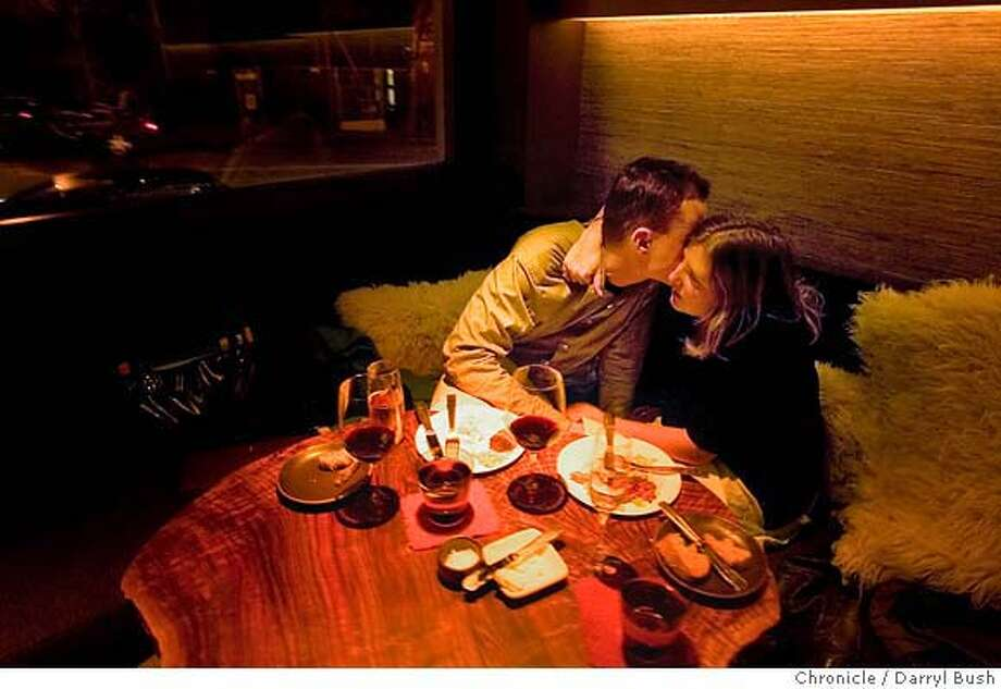 barbites25_coi_0008_db.JPG  Wynn Newberry and Alexandra Lacey, both of San Francisco enjoy a moment while eating their food and wine in the lounge at Coi Restaurant on Broadway in San Francisco, CA, on Thursday, January, 18, 2007. photo taken: 1/18/07  Darryl Bush / The Chronicle ** Alexandra Lacey, Wynn Newberry (cq) MANDATORY CREDIT FOR PHOTOG AND SF CHRONICLE/ -MAGS OUT Photo: Darryl Bush