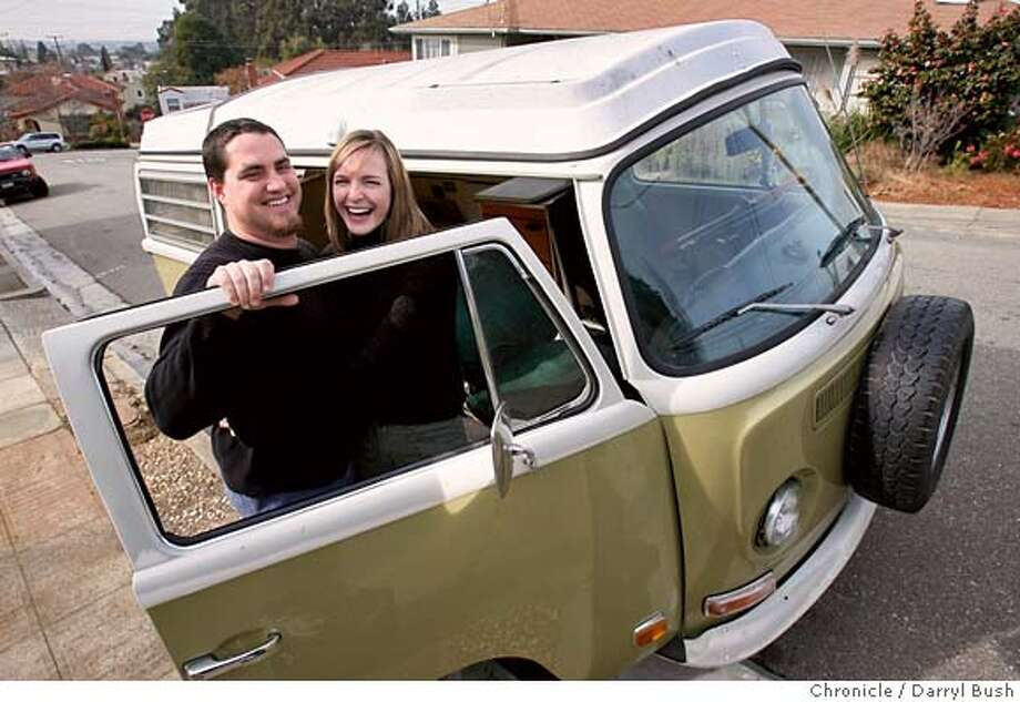 johnson23_0005_db.JPG  Couple Matt and Karin Bettman stand next to their 1971 VW bus near their home in Oakland, CA, on Saturday, January, 20, 2007. Matt Bettman found their bus after it was stolen last week. photo taken: 1/20/07  Darryl Bush / The Chronicle ** Matt and Karin Bettman (cq) MANDATORY CREDIT FOR PHOTOG AND SF CHRONICLE/ -MAGS OUT Photo: Darryl Bush