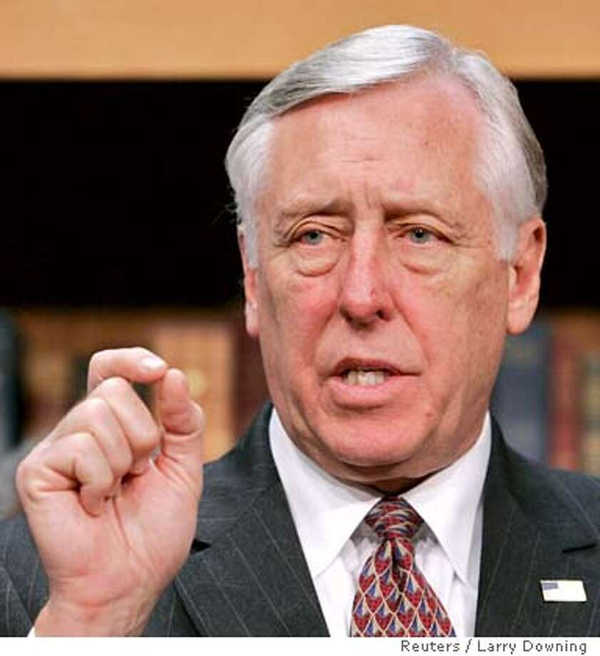 U.S. House Majority Leader Rep. Steny Hoyer (D-MD) discusses the House Democrats 100 Hours Agenda on Capitol Hill in Washington January 10, 2007. REUTERS/Larry Downing (UNITED STATES)  Ran on: 01-17-2007  Rep. Steny Hoyer, majority leader, predicts bipartisan support for the resolution. 0 Photo: LARRY DOWNING