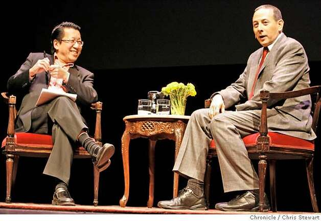 REUBENS24_120_cs.jpg  Former Rolling Stone magazine writer Ben Fong-Torres met in conversation with Paul Reubens aka Pee Wee Herman today, January 22, 2007 on stage at the Palace of Fine Arts theater as during tribute to Reubens at the 6th annual SF SketchFest comedy festival. Chris Stewart / The Chronicle MANDATORY CREDIT FOR PHOTOG AND SF CHRONICLE/ -MAGS OUT Photo: Chris Stewart