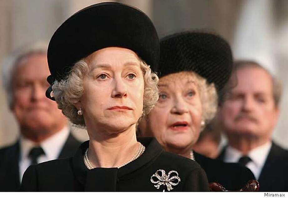 British actress Helen Mirren portrays Queen Elizabeth in a scene from the film 'The Queen' in this undated publicity photograph. 'The Queen' received four Golden Globe nominations, December 14, 2006, including best drama motion picture,and best actress nomination for Helen Mirren and best director for Stephen Frears. The awards presented by the Hollywood Foreign Press Association will be telecast live on January 15, 2007, from Beverly Hills. NO ARCHIVES REUTERS/Miramax Films/Handout (UNITED STATES)  Ran on: 12-31-2006  Clockwise from left: Helen Mirren in irresistible &quo;The Queen,&quo; Natalie Portman in haunting &quo;V for Vendetta&quo; and Sacha Baron Cohen in hysterical &quo;Borat.&quo;  Ran on: 01-11-2007  Helen Mirren portrays Queen Elizabeth II in &quo;The Queen.&quo;  Ran on: 01-14-2007  Helen Mirren in &quo;The Queen&quo;: She's favored to win a Golden Globe for her role in the movie, as well as for her role in television's &quo;Prime Suspect: The Final Act.&quo; Photo: HO