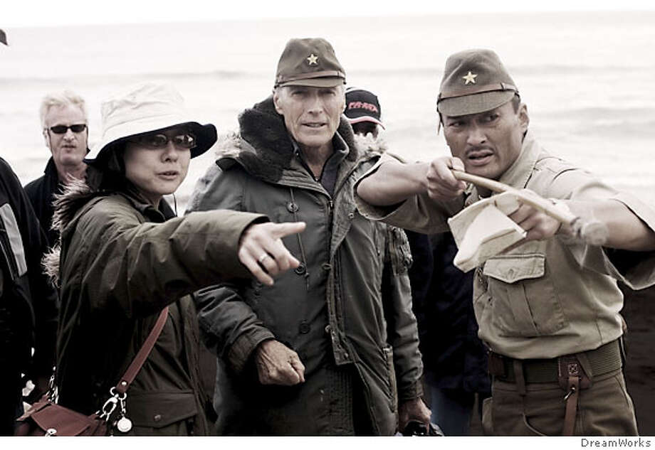 (L-r) Interpreter YUKI ISHIMARU, Director CLINT EASTWOOD and KEN WATANABE as General Kuribayashi on the set of Warner Bros. Pictures� and DreamWorks Pictures� World War II drama �Letters from Iwo Jima,� directed by Clint Eastwood.  PHOTOGRAPHS TO BE USED SOLELY FOR ADVERTISING, PROMOTION, PUBLICITY OR REVIEWS OF THIS SPECIFIC MOTION PICTURE AND TO REMAIN THE PROPERTY OF THE STUDIO. NOT FOR SALE OR REDISTRIBUTION. Photo: DreamWorks