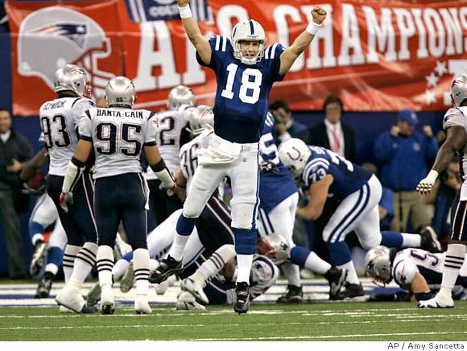 Indianapolis Colts quarterback Peyton Manning celebrates the go-ahead touchdown late in the fourth quarter against the New England Patriots AFC Championship football game Sunday, Jan. 21, 2007, in Indianapolis. The Colts won 38-34. (AP Photo/Amy Sancetta) Photo: Amy Sancetta