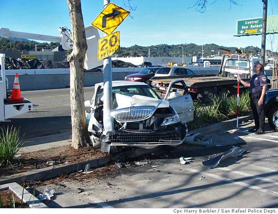 Crash of lincoln towncar after a kidnapping for ransom in San Rafael.  Photos by Cpr. Harry Barbler, San Rafael Police Dept. Photo: Barbler