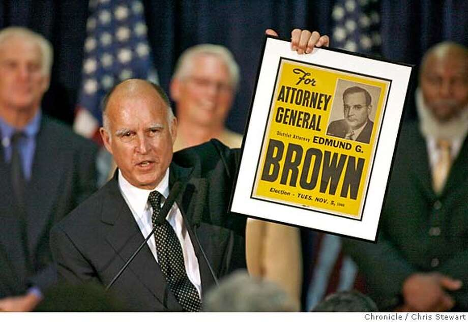 gov08_0163_cs.jpg  Newly-elected attorney general Jerry Brown holds up a 1946 campaign poster from when his father Pat Brown ran for the same office. Leading Democrats, including Dianne Feinstein, Jerry Brown, Barbara Boxer and Bill Lockyer attend a Democratic Party election night rally at Delancey St. Restaurant, Town Hall Rm., 600 Embarcadero, San Francisco. Chris Stewart / The Chronicle Ran on: 11-08-2006  At a rally at Delancey Street Restaurant in San Francisco, Jerry Brown, leading in the race for state attorney general, shows a 1946 campaign poster for his father, &quo;Pat&quo; Brown, who won the same office.  Ran on: 11-08-2006 MANDATORY CREDIT FOR PHOTOG AND SF CHRONICLE/ -MAGS OUT Photo: Chris Stewart