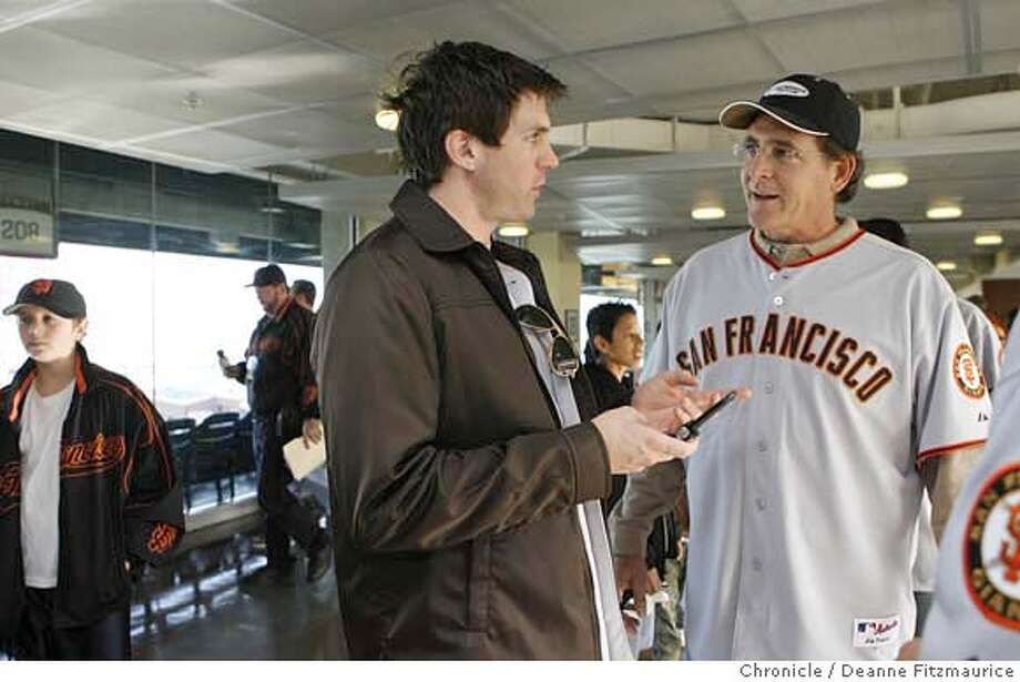 giantsfanfest_0078_df.jpg  New pitcher Barry Zito meets pitching coach Dave Righetti for the first time and they exchange phone numbers. New San Francisco Giants were on hand at the Giants Fanfest at AT&T Park. Photographed in San Francisco on 1/20/07. Chronicle Photo / Deanne Fitzmaurice Mandatory credit for photographer and San Francisco Chronicle. /Magazines out. Photo: Deanne Fitzmaurice