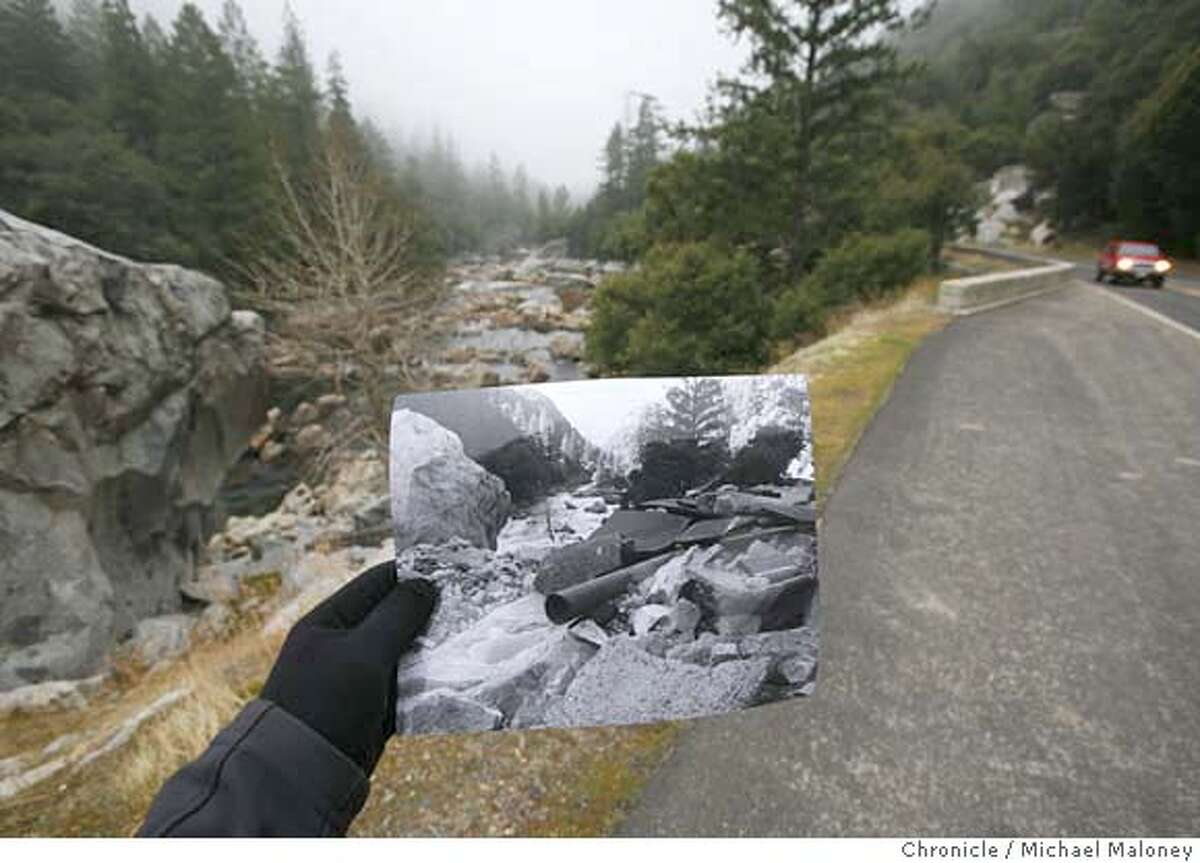 Comparing 1997 and 2007: a look at a portion of the 7.5-mile stretch of the steep and narrow El Portal Road (Highway 140) that was severely damaged. Photo from 10 years ago courtesy of the National Park Service. On January 1-3, 1997, heavy rain and warm temperatures on top of a heavy snowpack on the peaks surrounding Yosemite Valley caused the greatest flood ever seen in Yosemite since gauging stations were first installed on the Merced River over 90 years ago.