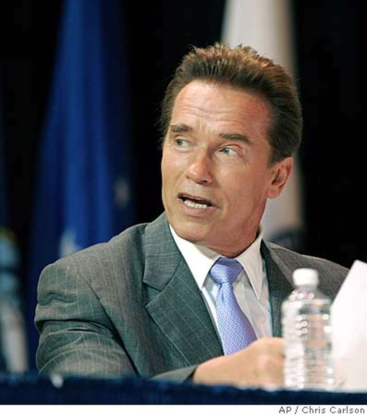California Gov. Arnold Schwarzenegger testifies in support of California's bases before the Base Realignment and Closure Commission, Thursday, July 14, 2005, in Los Angeles. (AP Photo/Chris Carlson)