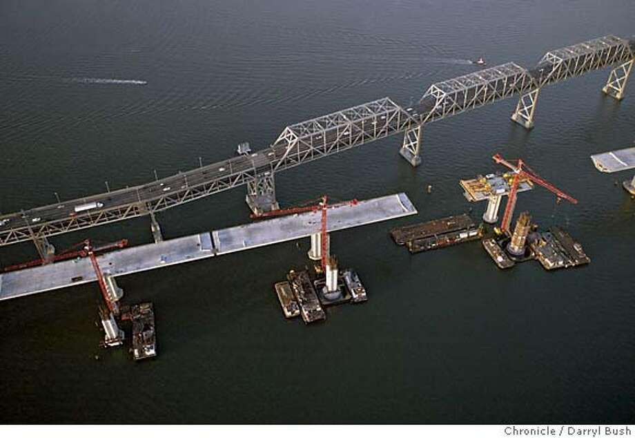 baybridge_002_db.jpg  Aerial view of construction of the new East span of the Bay Bridge.  Event on 6/15/05 in San Francisco.  Darryl Bush / The Chronicle MANDATORY CREDIT FOR PHOTOG AND SF CHRONICLE/ -MAGS OUT Photo: Darryl Bush