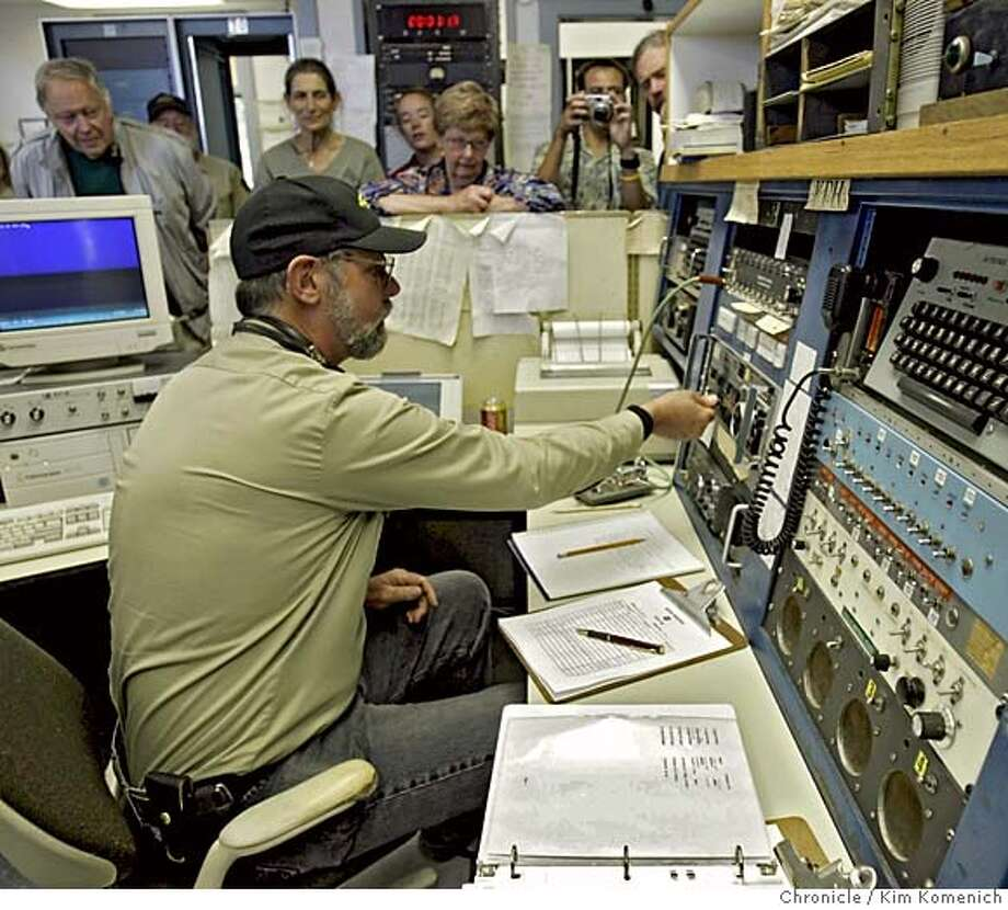 MORSE_CODE13_KK_060.jpg  Richard Dillman flips the switches that make the KPH transmitters, located in Bolinas, start transmitting the station's anniversary message aired 6 years and one minute after the station carried the last commercial Morse code message .  KPH, one of the most famous Morse code stations in history, returns to the air for one night to celebrate its 100th anniversary. The station, located near the Pt. Reyes Lighthouse communicated with ships at sea via Morse code. At precisely 00:01 Zulu (5:01 p.m. Pacific time Tuesday) Chief Operator Richard Dillman transmitted a message comemmorating the station's anniversary.  (7/12/05)  San Francisco Chronicle Photo by Kim Komenich Photo: Kim Komenich