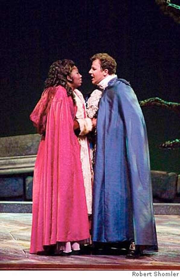 Soprano Hope Briggs as Amelia and tenor Mark Duffin as Riccardo.  Festival Opera Un Ballo in Maschera Photo by Robert Shomler Dress rehearsal, July 7, 2005 Photo by Robert Shomler Photo: Robert Shomler