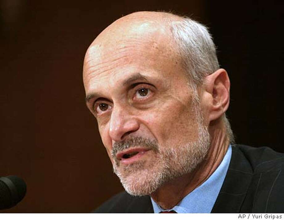 Department of Homeland Security Secretary Michael Chertoff testifies at the Senate Committee of Governmental Affairs hearing on results of DHS's second stage review on Capitol Hill in Washington, Thursday, July 14, 2005. (AP Photo/Yuri Gripas) Photo: YURI GRIPAS