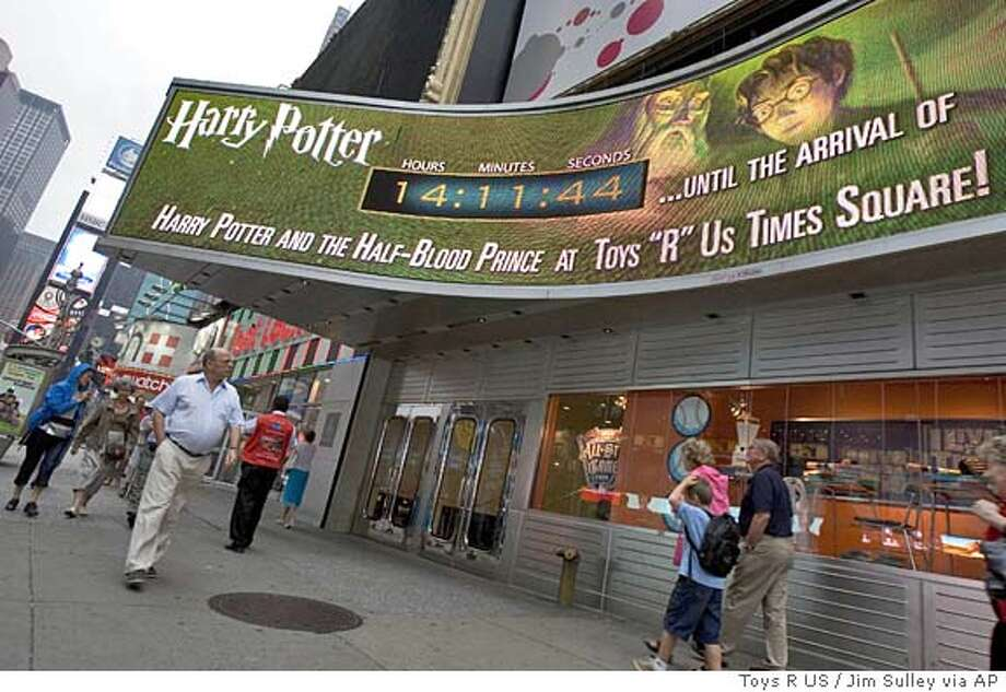 "The countdown clock at Toys R Us store in New York's Times Square is tested on Wednesday, July 13, 2005, in anticipation of the release of ""Harry Potter and the Half-Blood Prince."" Millions of fans worldwide are expected to purchase the sixth book in the series from author J.K. Rowling which goes on sale at 12:01 a.m. EDT, on Saturday, July 16, 2005. (AP Photo/Toys R US,Jim Sulley ) NO ARCHIVE Photo: JIM SULLEY"