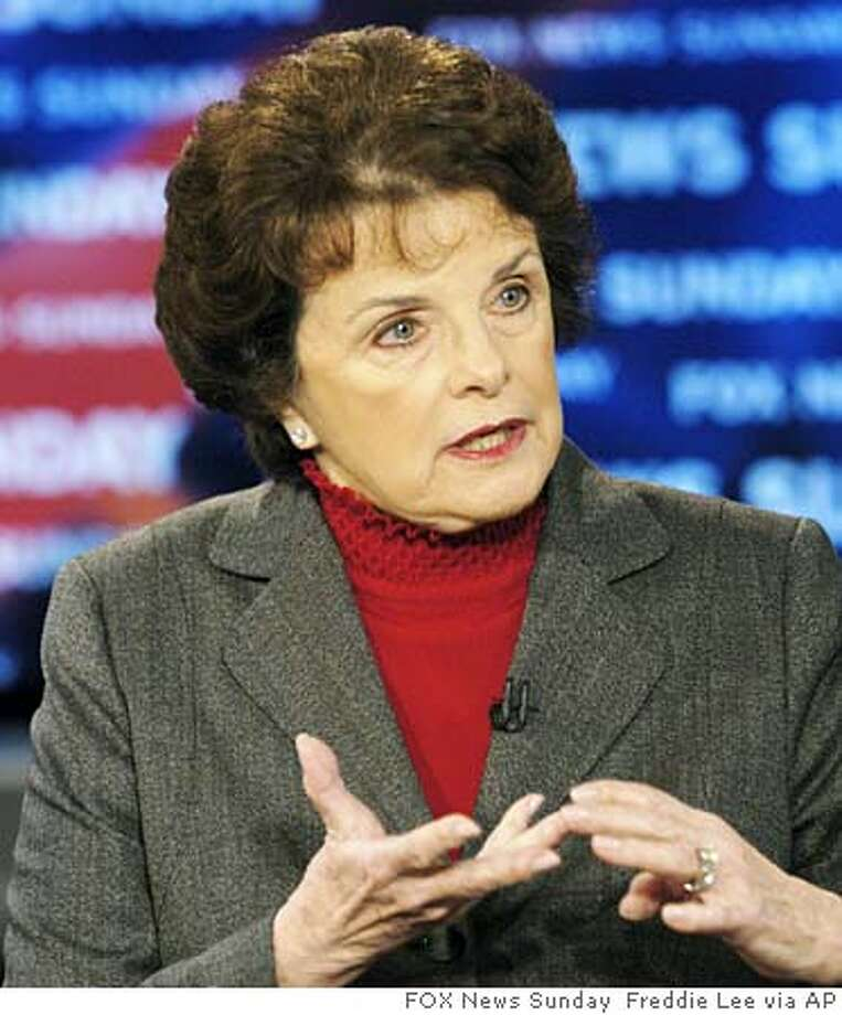 "In the photograph provided by FOX News Sunday, Sen. Dianne Feinstein, D-Calif. talks about the inaugural speech of President Bush and the upcoming Iraq elections during the taping of ""FOX News Sunday"" at the FOX studios in Washington Sunday, Jan. 23, 2005. (AP Photo/FOX News Sunday, Freddie Lee) Ran on: 01-25-2005  Dianne Feinstein Ran on: 01-27-2005  Sen. Dianne Feinstein says Alberto Gonzales lacks candor and independence from the White House and shouldn't become U.S. attorney general. Ran on: 01-27-2005  Sen. Dianne Feinstein says Albert Gonzales lacks candor and independence from the White House and shouldn't become U.S. attorney general. Ran on: 02-02-2005  Sen. Dianne Feinstein, left, said she was ready to support Alberto Gonzales, right, until he testified before the Judiciary Committee last month. Ran on: 02-02-2005  Sen. Dianne Feinstein, left, said she was ready to support Alberto Gonzales, right, until he testified before the Judiciary Committee last month. Ran on: 02-26-2005  Dianne Feinstein MANDATORY CREDIT: FREDDIE LEE, FOX NEWS SUNDAY, , NO ARCHIVES PHOTO PROVIDED BY FOX NEWS SUNDAY  ALSO RAN: 05/09/2005 Ran on: 05-10-2005  Sen. Dianne Feinstein also is seeking federal funds for costs that states incur in jailing illegal immigrants. Ran on: 06-10-2005  President Bush cited Sen. Dianne Feinstein's support of renewal of the Patriot Act. But the California Democrat says she opposes portions of the bill that would expand the federal government's powers. ALSO Ran on: 06-10-2005  President Bush Nation#MainNews#Chronicle#5/9/2005#ALL#5star##0422586643 Photo: FREDDIE LEE"