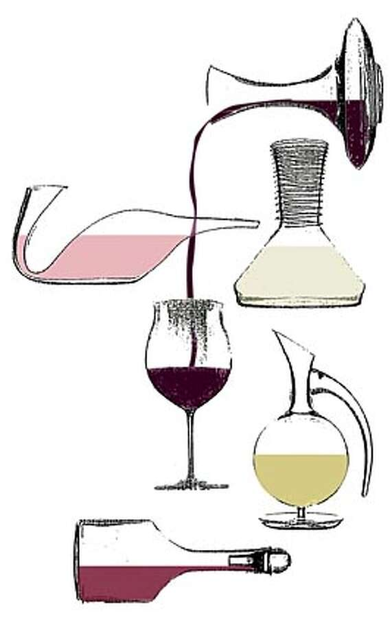 Decanter models from Riedel the Wine Glass Co. include (clockwise from top right) Ultra, Sommeliers, Pomerol, Dominus and Vinum Extreme. Chronicle illustration by Hulda Nelson