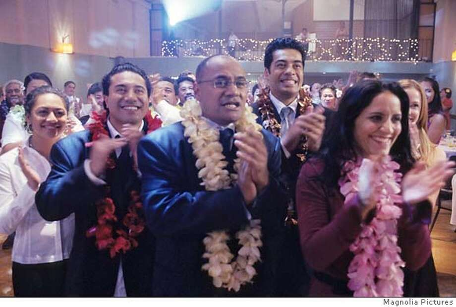 Pictured L-R: Jane (Karena Lyons), Stanley (Iaheto Ah Hi), Albert (Oscar Kightley), Michael (Robbie Magasiva), Tania (Madeleine Sami). From SAMOAN WEDDING, a Magnolia Pictures release. Photo: Magnolia Pictures