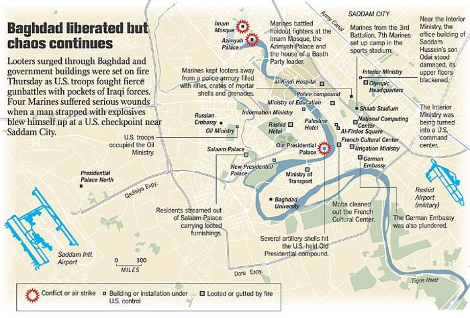 Baghdad Liberated But Chaos Continues. Chronicle Graphic