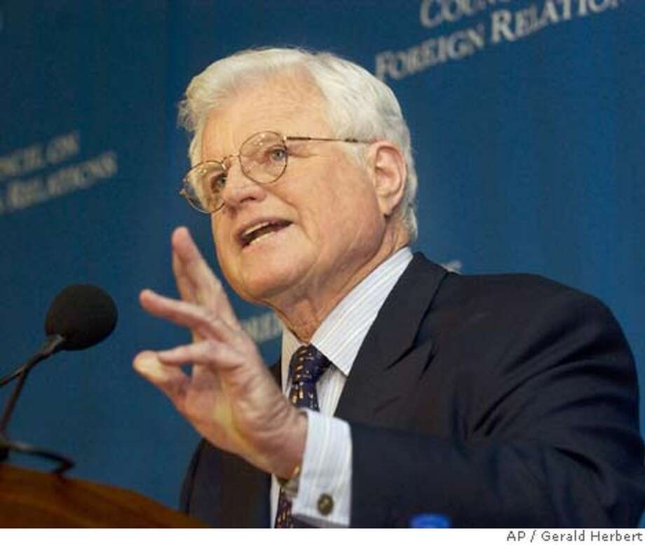 Sen. Ted Kennedy, D-Mass., speaks to the Council on Foreign Relations in Washington Friday, March 5, 2004. Kennedy said CIA Director George Tenet must come clean with Congress and explain why he waited until last month to 'set the record straight' that Iraq posed no immediate threat to the United State in the months leading up to the war. (AP Photo/Gerald Herbert) Sen. Edward Kennedy questions the Bush administration's justification for war during an address to the Council on Foreign Relations in Washington, D.C. Sen. Edward Kennedy questions the Bush administration's justification for war during an address to the Council on Foreign Relations in Washington, D.C. ProductName	Chronicle Insight#Insight#Chronicle#04/11/04#ALL#Advance##0421657695 Nation#MainNews#Chronicle#10/1/2004#ALL#5star##0421657695 Photo: GERALD HERBERT
