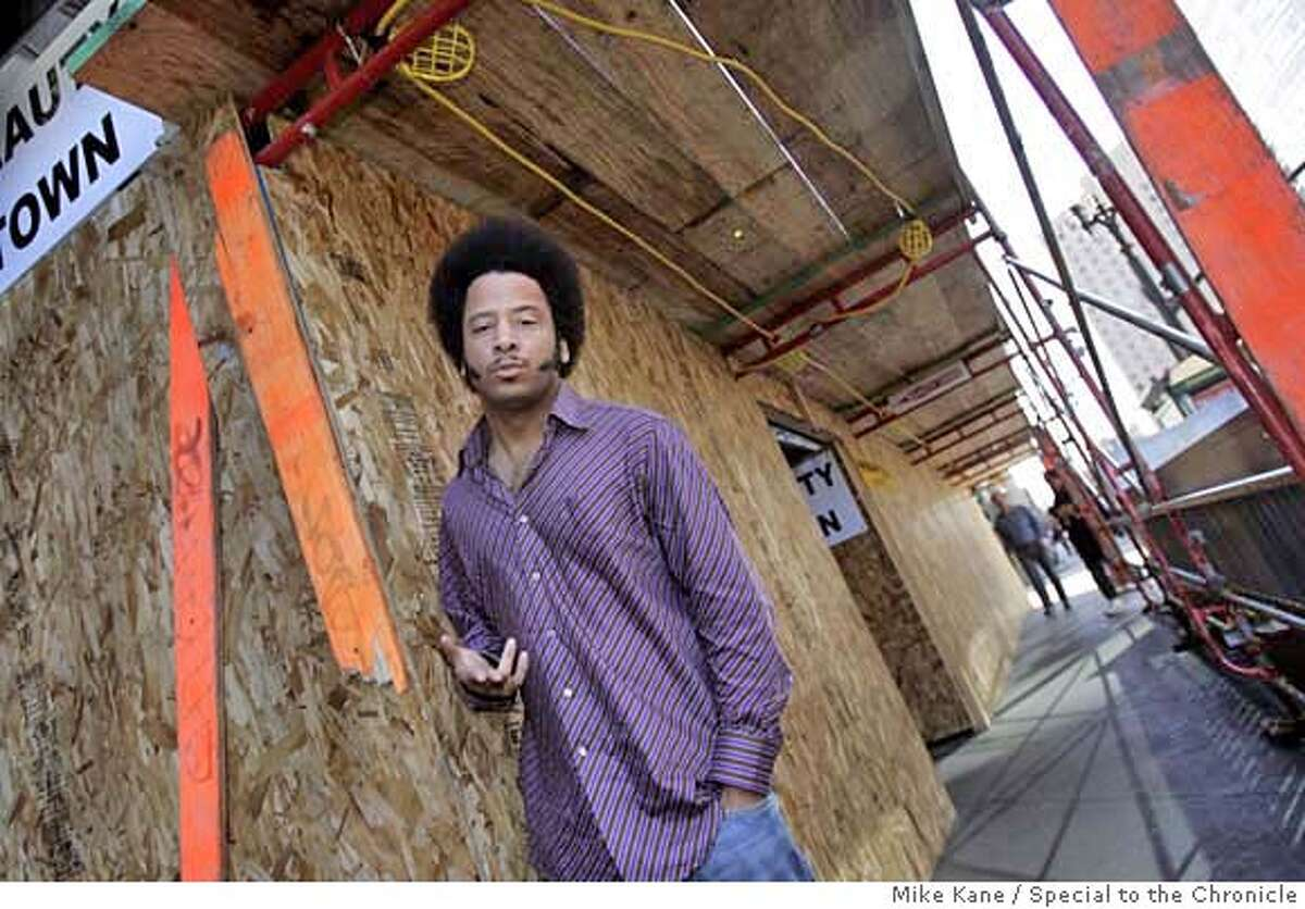COUP20_020_MBK.JPG Boots Riley, lead singer with the Oakland funk/ rap ensemble The Coup, poses in downtown Oakland OAKLAND, CA, on Friday, January, 12, 2007. photo taken: 1/12/07 Mike Kane / The Chronicle ** Boots Riley MANDATORY CREDIT FOR PHOTOG AND SF CHRONICLE/ -MAGS OUT