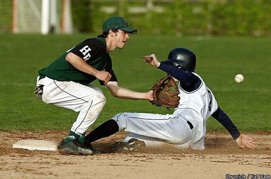 The Head-Royce High School Jayhawk's short stop, Jesse Barnes takes out Nat Penn on second base during the game against College Prep High School at Head-Royce High School March 25, 2003. Penn was tagged out after stepping off the bag. SAN FRANCISCO CHRONICLE PHOTO BY KAT WADE Photo: KAT WADE