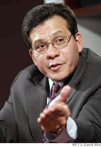 Attorney General Alberto Gonzales gestures during an interview with The Associated Press, Tuesday, Jan. 16, 2007 Washington. (AP Photo/J. David Ake) Photo: J. DAVID AKE