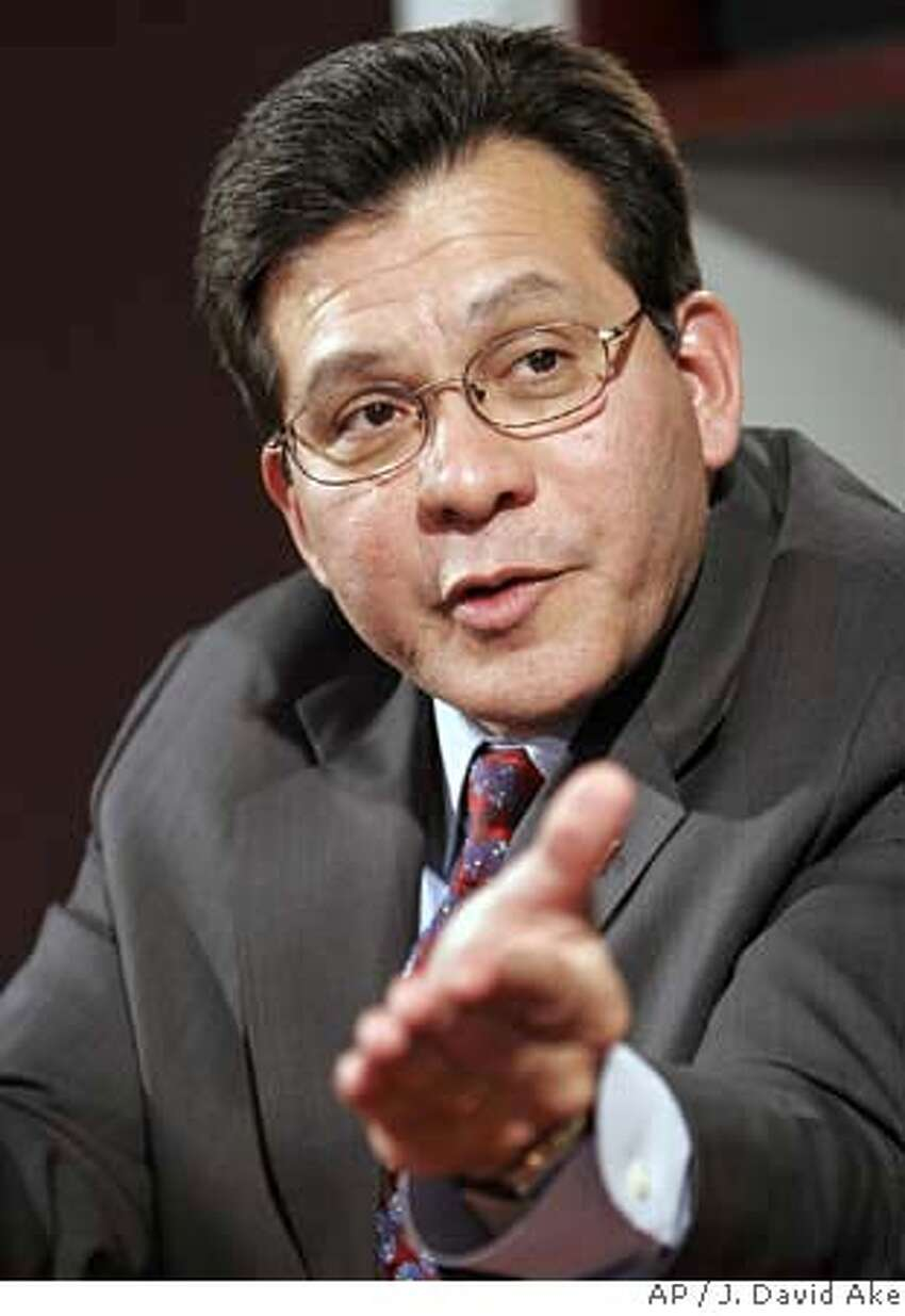 Attorney General Alberto Gonzales gestures during an interview with The Associated Press, Tuesday, Jan. 16, 2007 Washington. (AP Photo/J. David Ake)