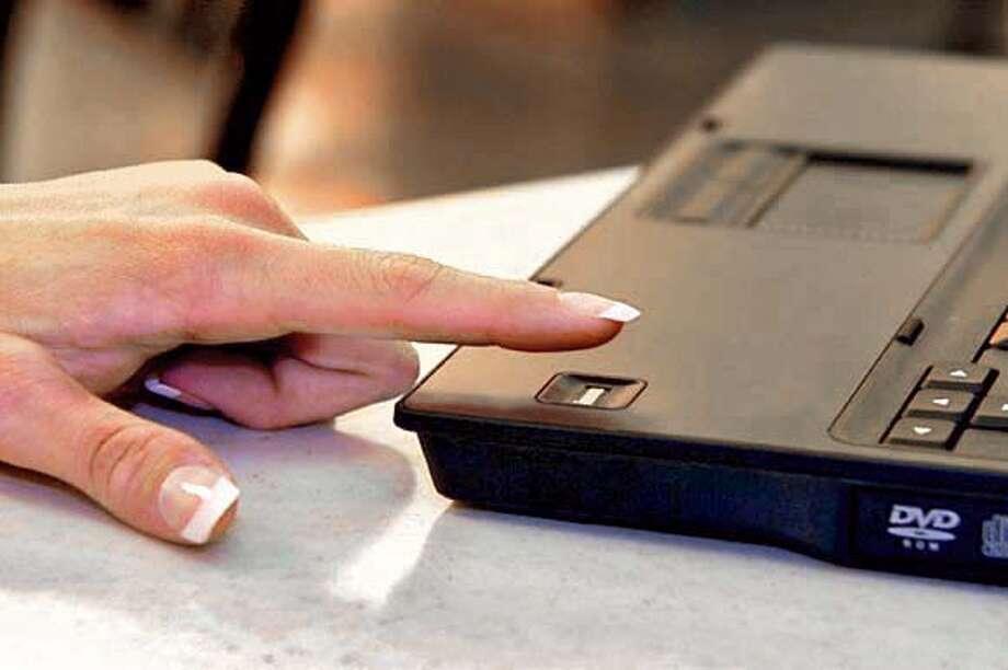 New HP laptop utilizes biometric technology using fingerprints to log on.  HANDOUT PHOTO