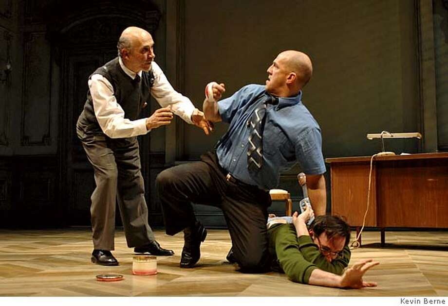 (l to r) Tony Amedola, Andy Murray and Erik Lochtefeld perform in The Pillowman by Oscar-winner Martin McDonagh at Berkeley Rep. Photographer:  Kevin Berne Photo: Kevin Berne
