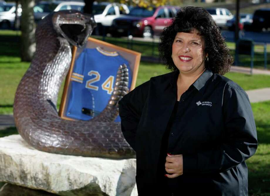 In 1986, Leticia Morales-Bissaro won eight games in three days to lead the St. Mary's softball team to the NAIA national title. Morales-Bissaro is an associate director of undergraduate admission at St. Mary's. William Luther/Express-News Photo: WILLIAM LUTHER, SAN ANTONIO EXPRESS-NEWS / 2011 SAN ANTONIO EXPRESS-NEWS