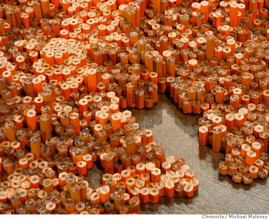 "A closeup of a portion of the sculpture.  A sculpture titled ""Colony"" on display at the Berkeley Art Museum by artist Tara Donovan is made up of thousands of pencils.  Photo taken on 1/9/07 by Michael Maloney / San Francisco Chronicle Ran on: 01-13-2007  A detail of Tara Donovan's piece &quo;Colony,&quo; on display at the UC Berkeley Art Museum. MANDATORY CREDIT FOR PHOTOG AND SF CHRONICLE/ -MAGS OUT Photo: Michael Maloney"